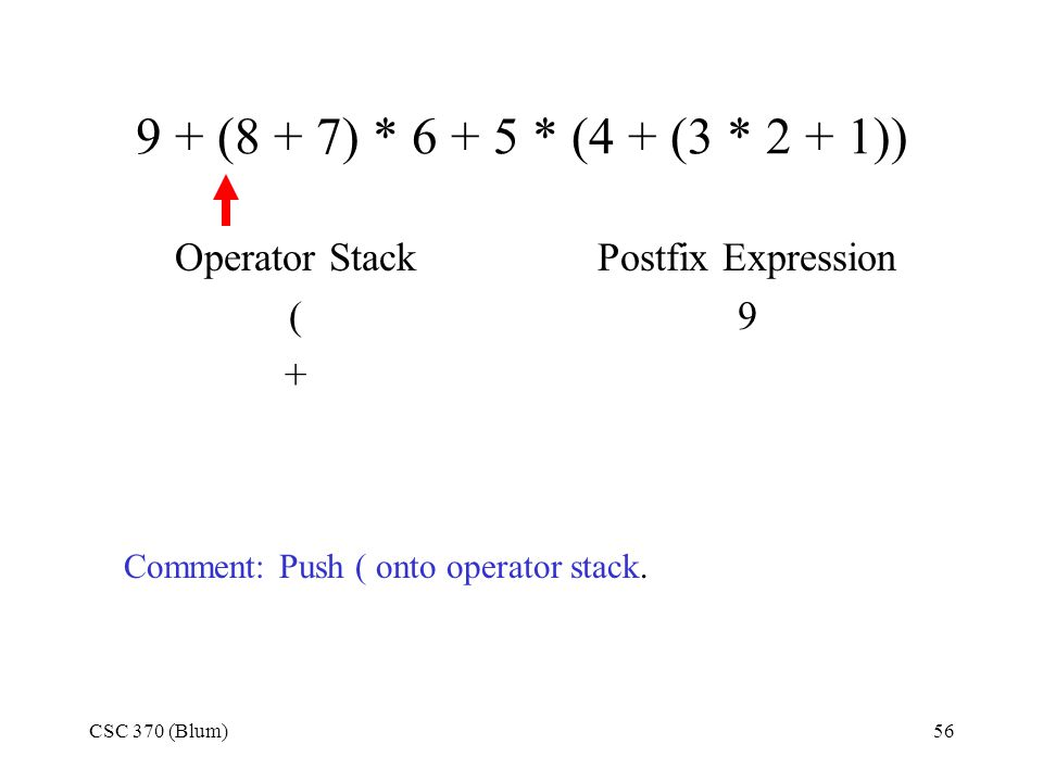 9 + (8 + 7) * 6 + 5 * (4 + (3 * 2 + 1)) Operator Stack ( +