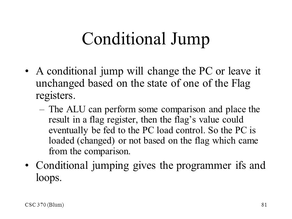 Conditional Jump A conditional jump will change the PC or leave it unchanged based on the state of one of the Flag registers.