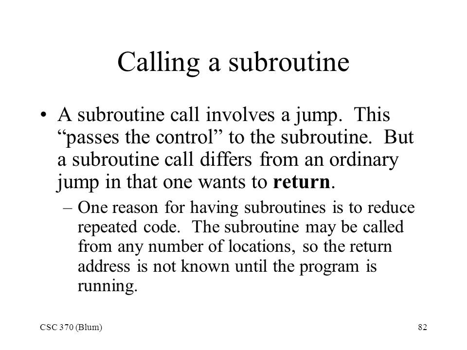 Calling a subroutine