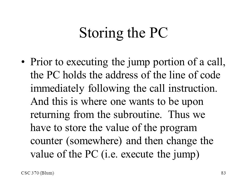 Storing the PC