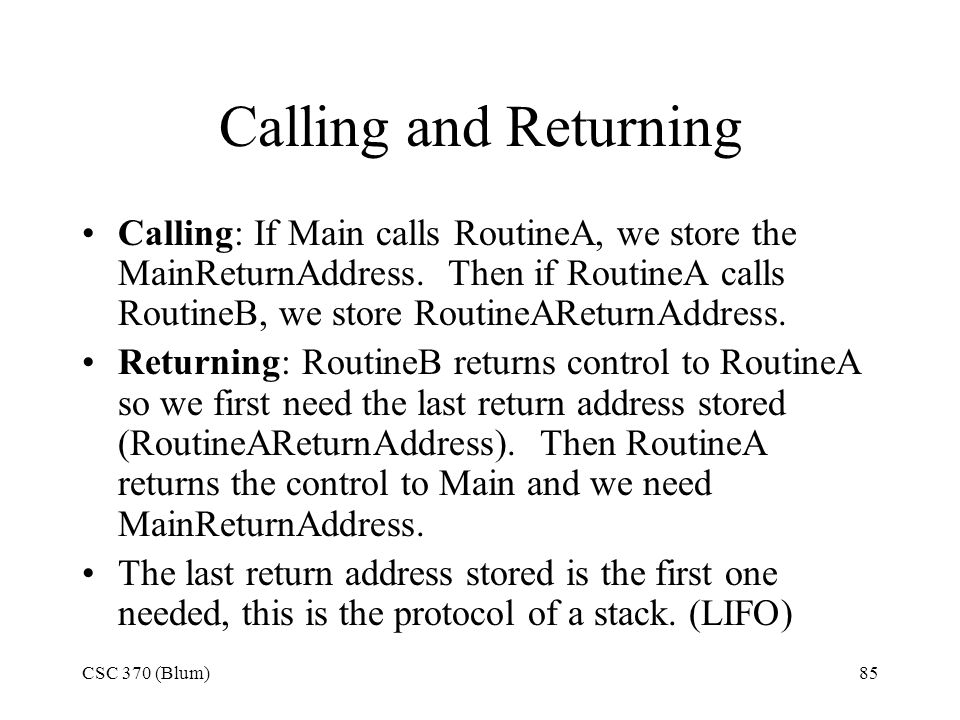 Calling and Returning