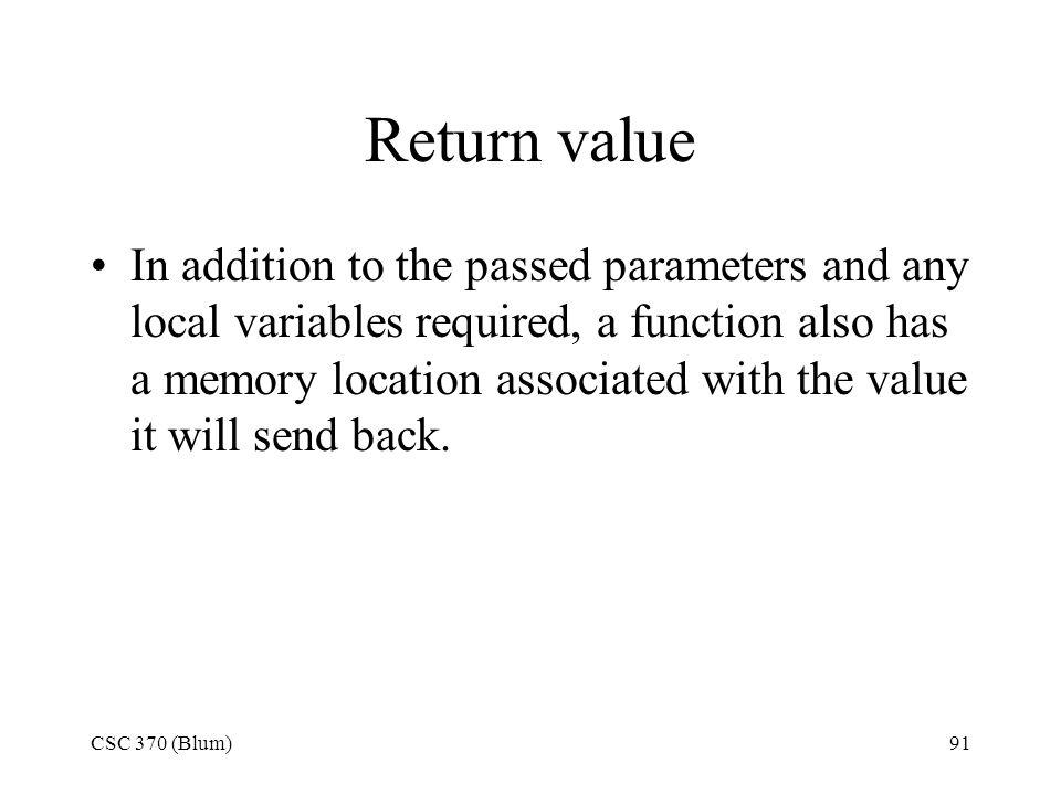 Return value