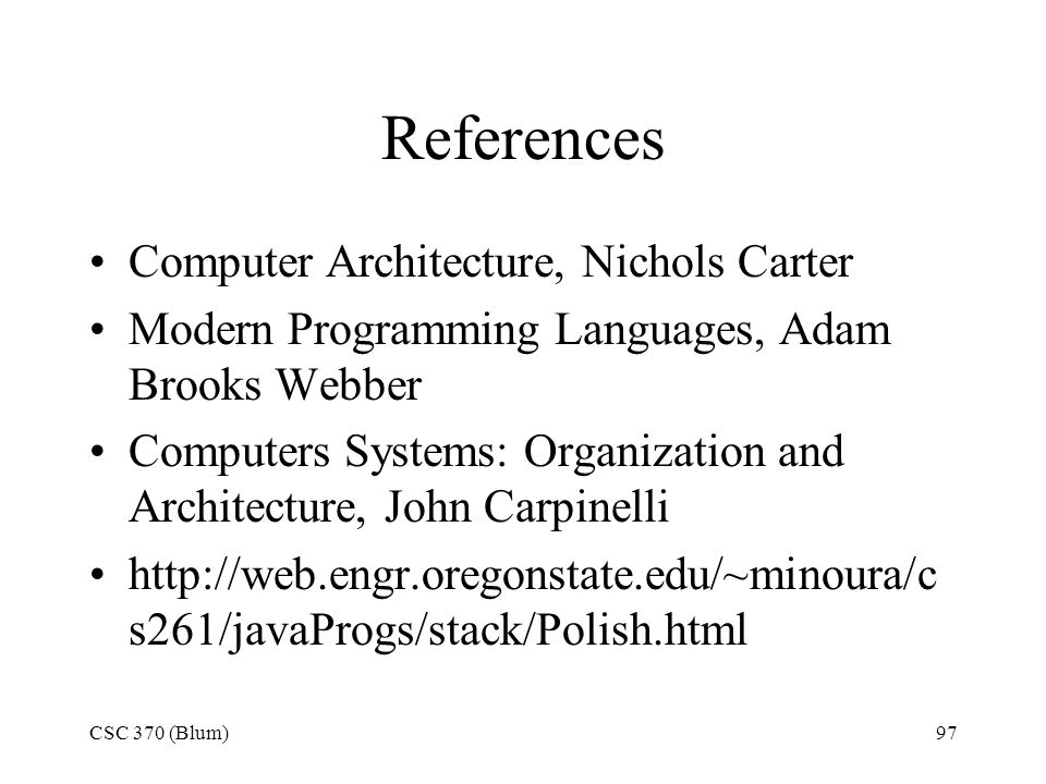 References Computer Architecture, Nichols Carter