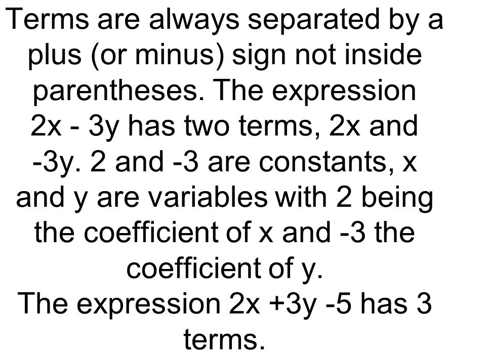 Terms are always separated by a plus (or minus) sign not inside parentheses.