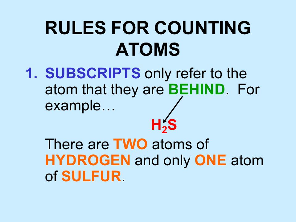 RULES FOR COUNTING ATOMS