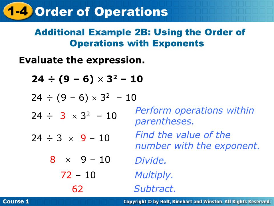 Additional Example 2B: Using the Order of Operations with Exponents