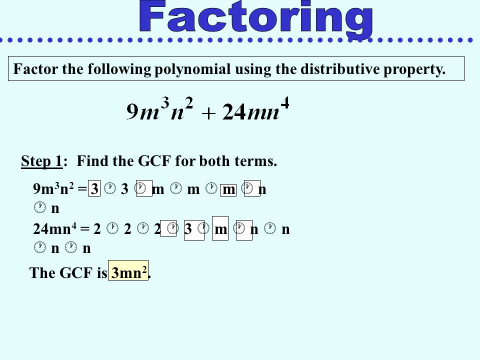 Factoring Factor the following polynomial using the distributive property. Step 1: Find the GCF for both terms.