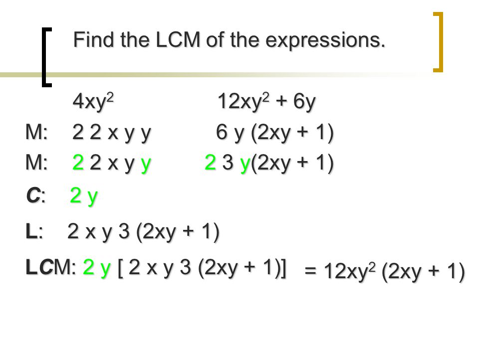 Find the LCM of the expressions.