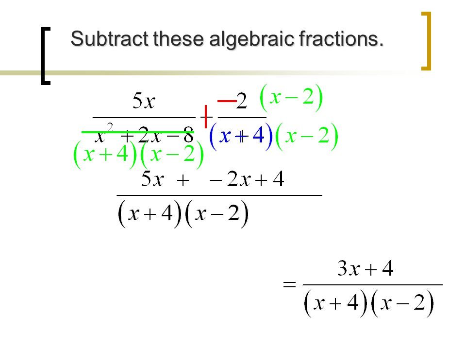 Subtract these algebraic fractions.