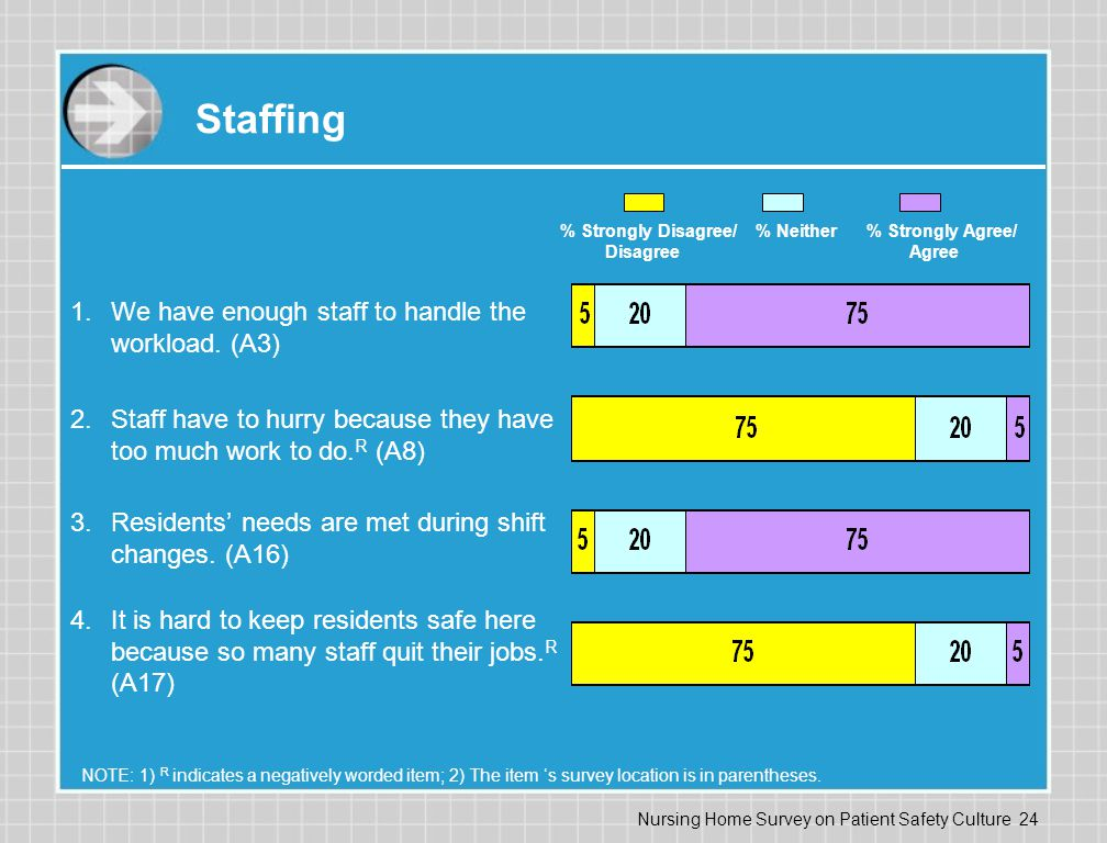 Staffing We have enough staff to handle the workload. (A3)