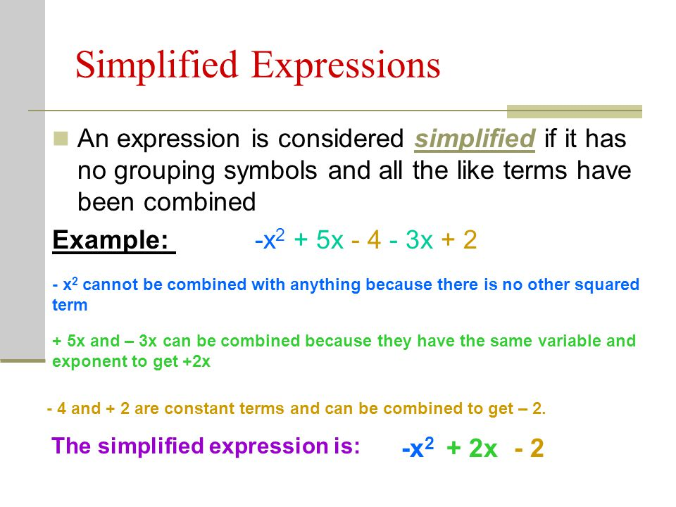 Simplified Expressions