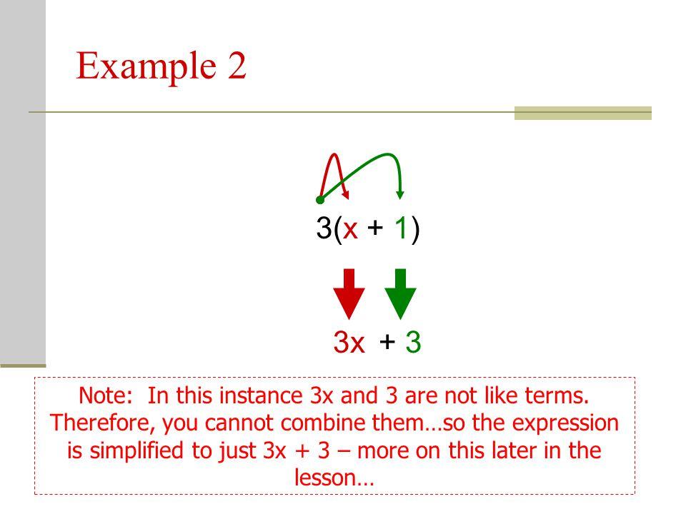Example 2 3(x + 1) 3x. + 3.