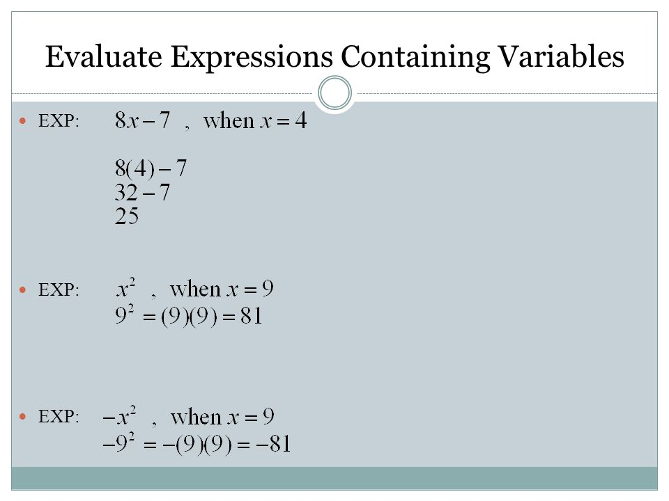 Evaluate Expressions Containing Variables