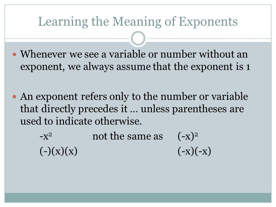 Learning the Meaning of Exponents