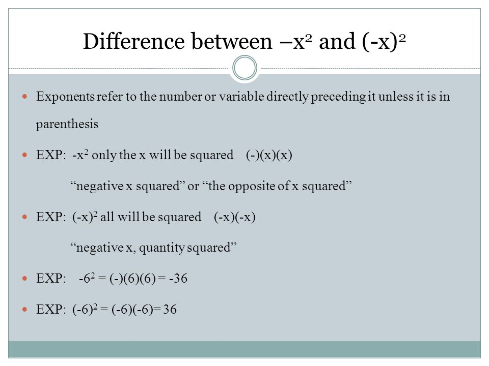 Difference between –x2 and (-x)2