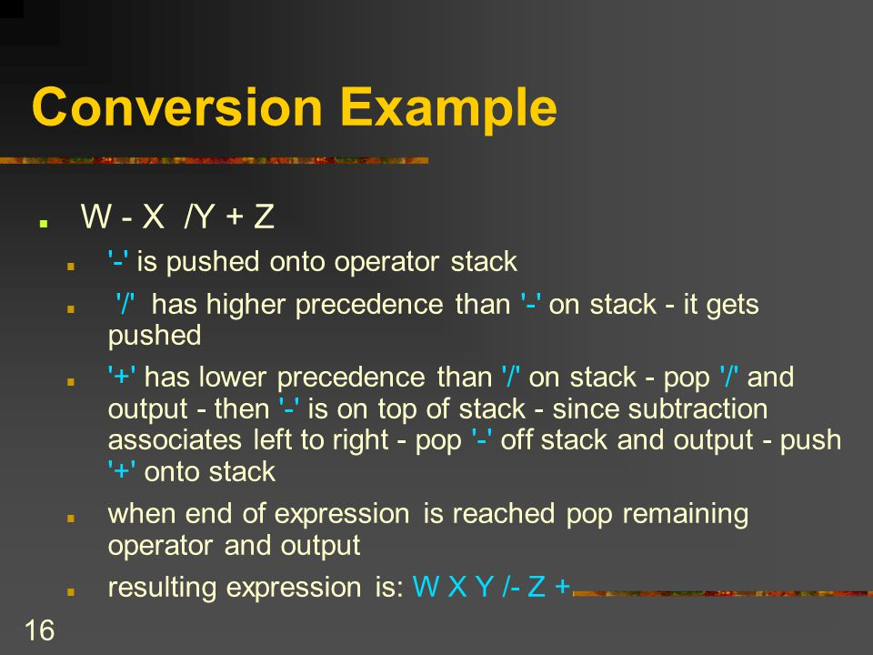 Conversion Example W - X /Y + Z - is pushed onto operator stack