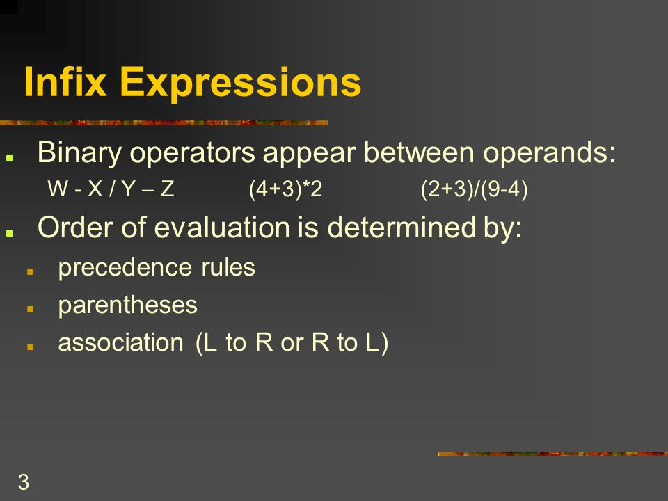 Infix Expressions Binary operators appear between operands: