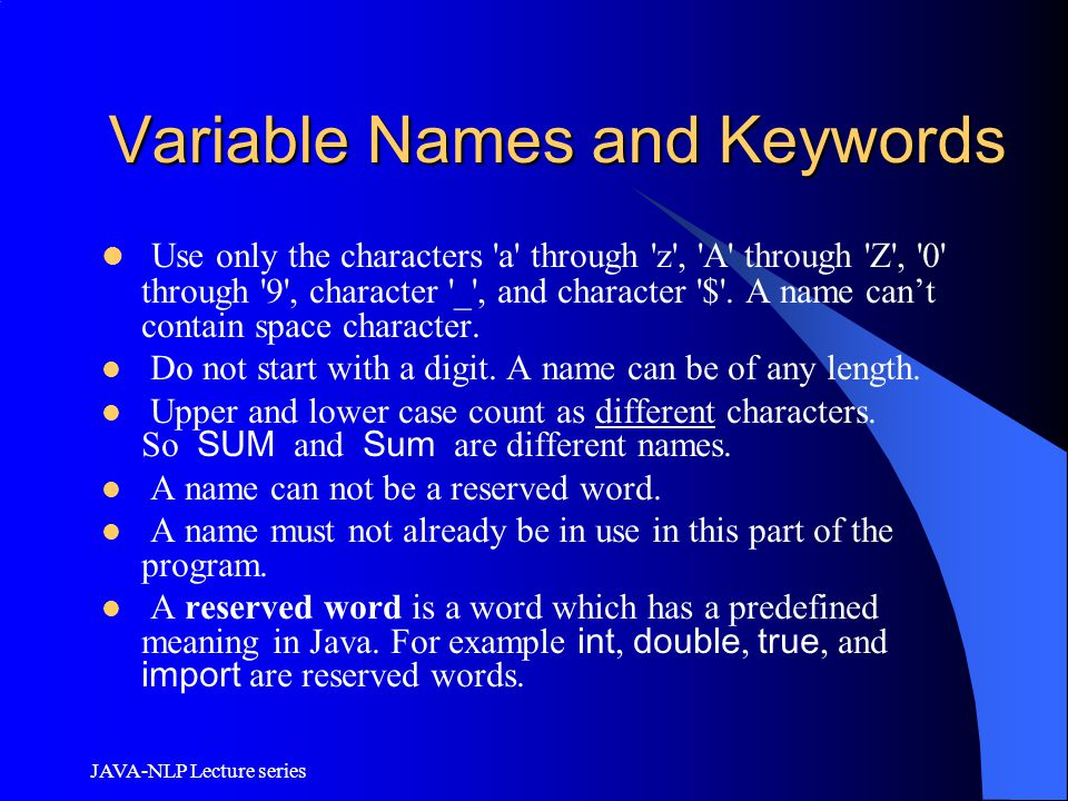 Variable Names and Keywords