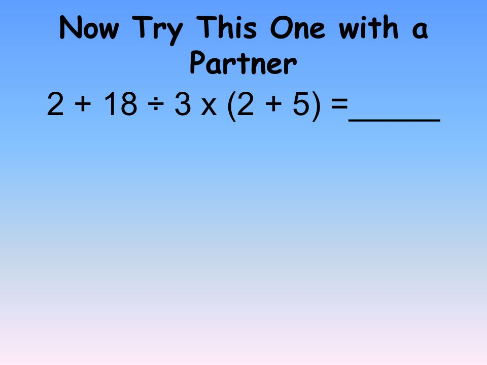 Now Try This One with a Partner