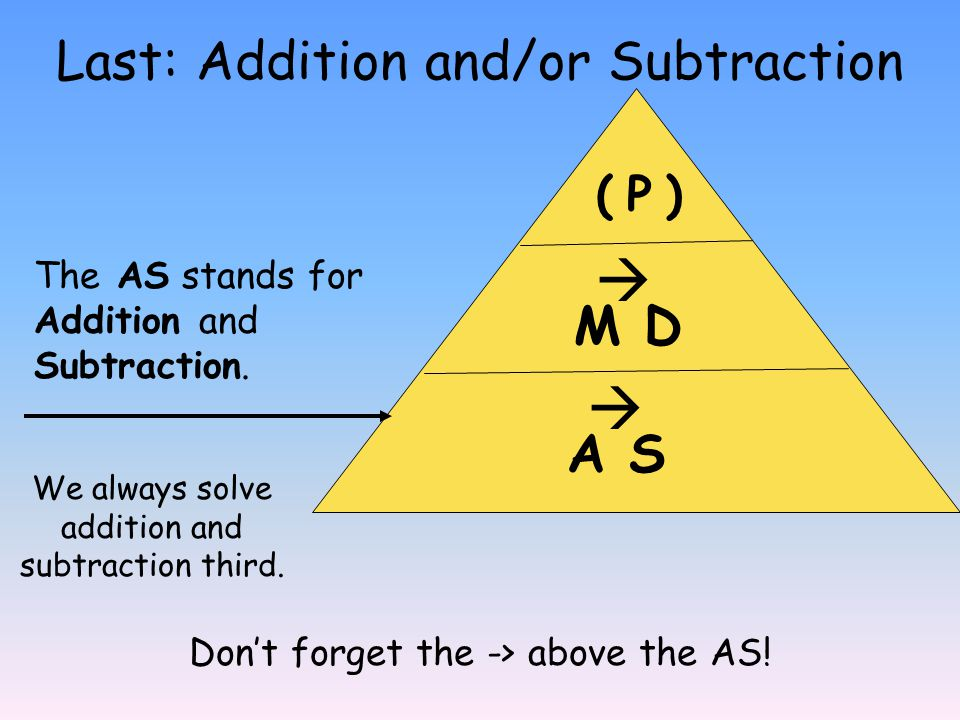 Last: Addition and/or Subtraction