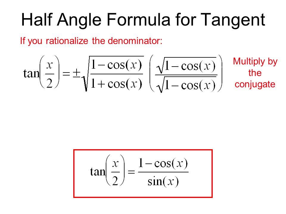 Half Angle Formula for Tangent
