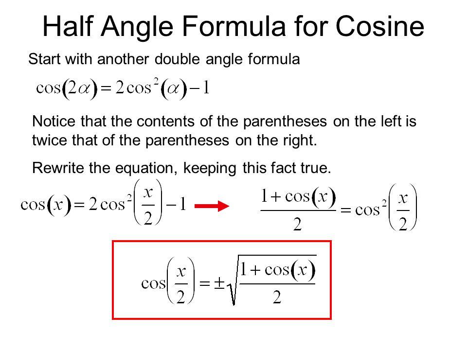 Half Angle Formula for Cosine