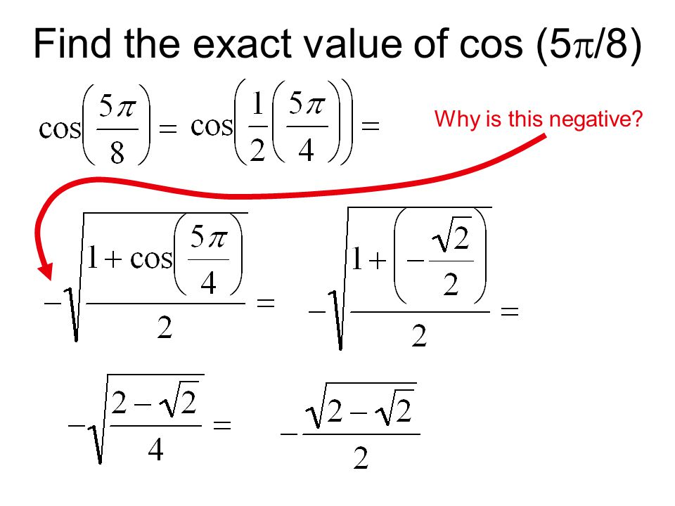 Find the exact value of cos (5/8)