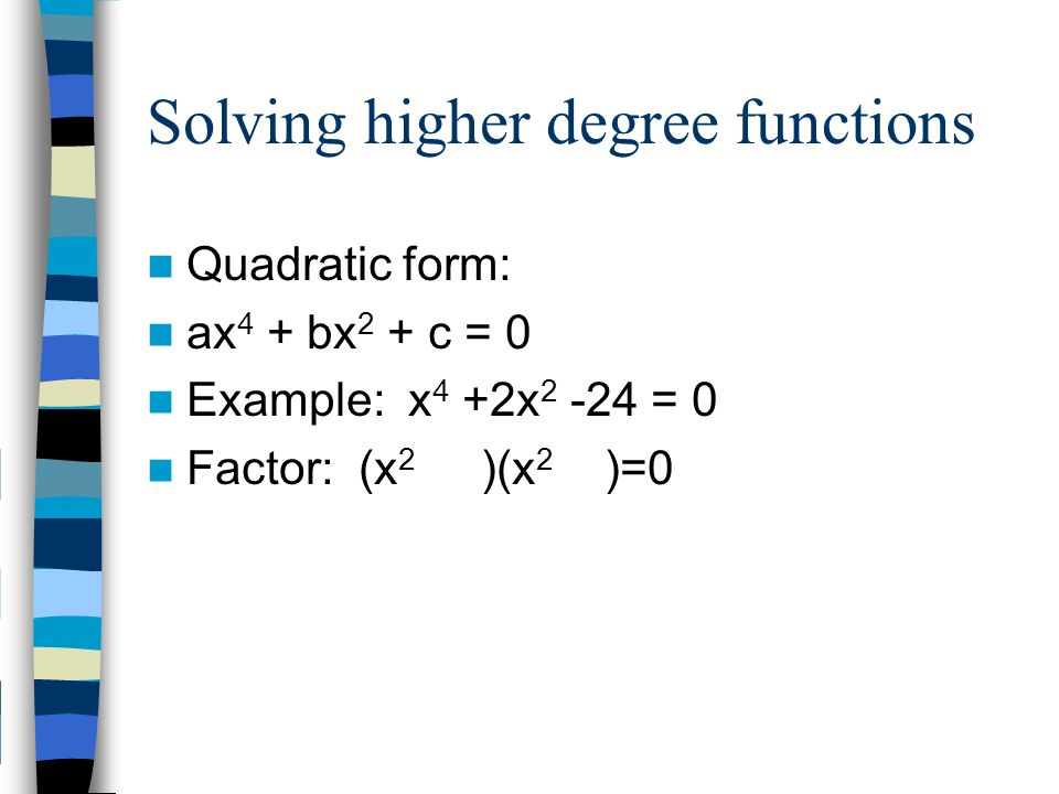 Solving higher degree functions
