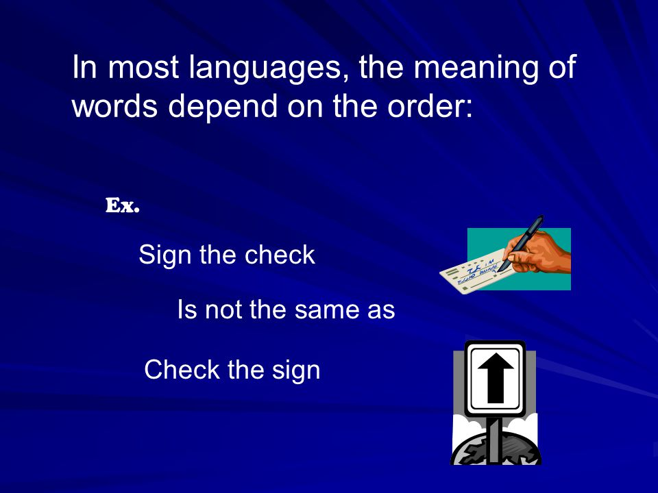 In most languages, the meaning of words depend on the order: