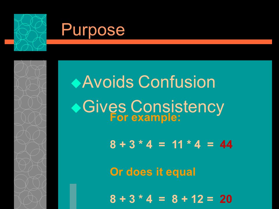 Purpose Avoids Confusion. Gives Consistency. For example: 8 + 3 * 4 = 11 * 4 = 44. Or does it equal.