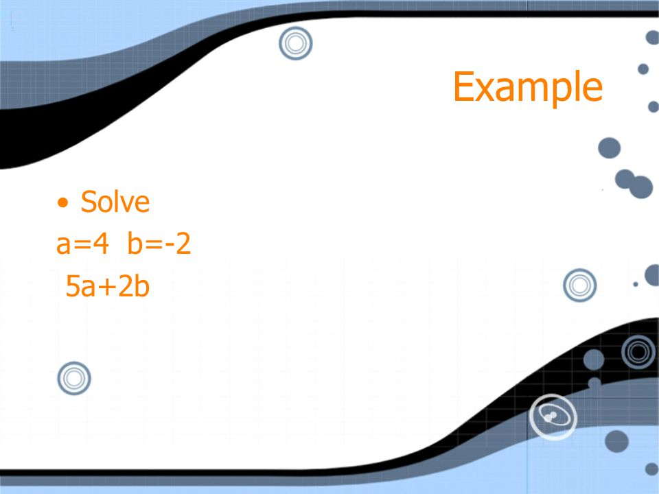 Example Solve a=4 b=-2 5a+2b