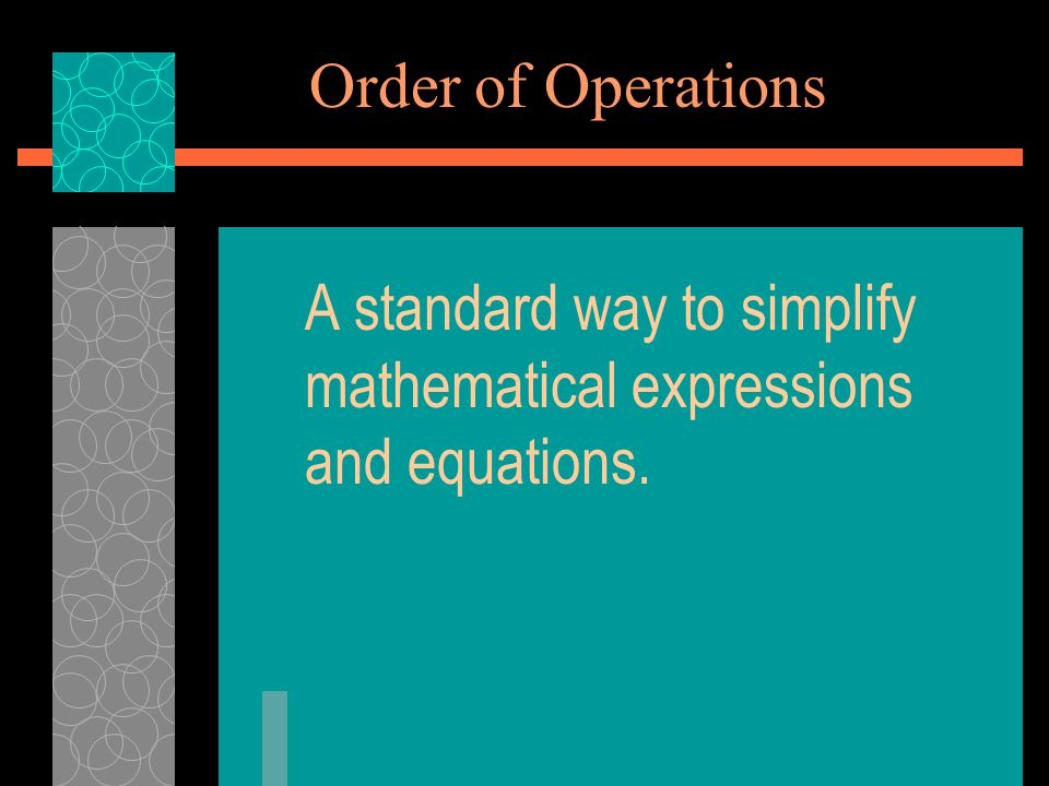 A standard way to simplify mathematical expressions and equations.