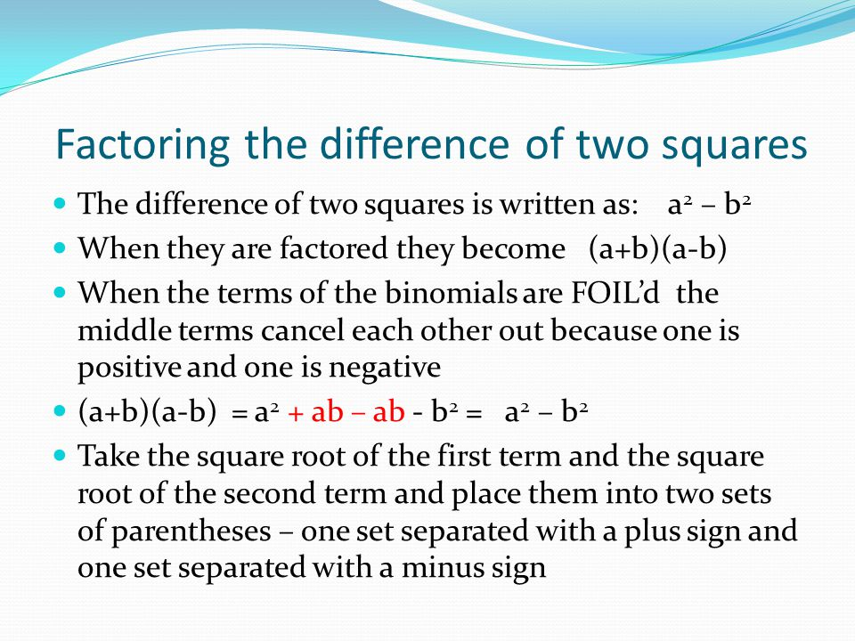 Factoring the difference of two squares