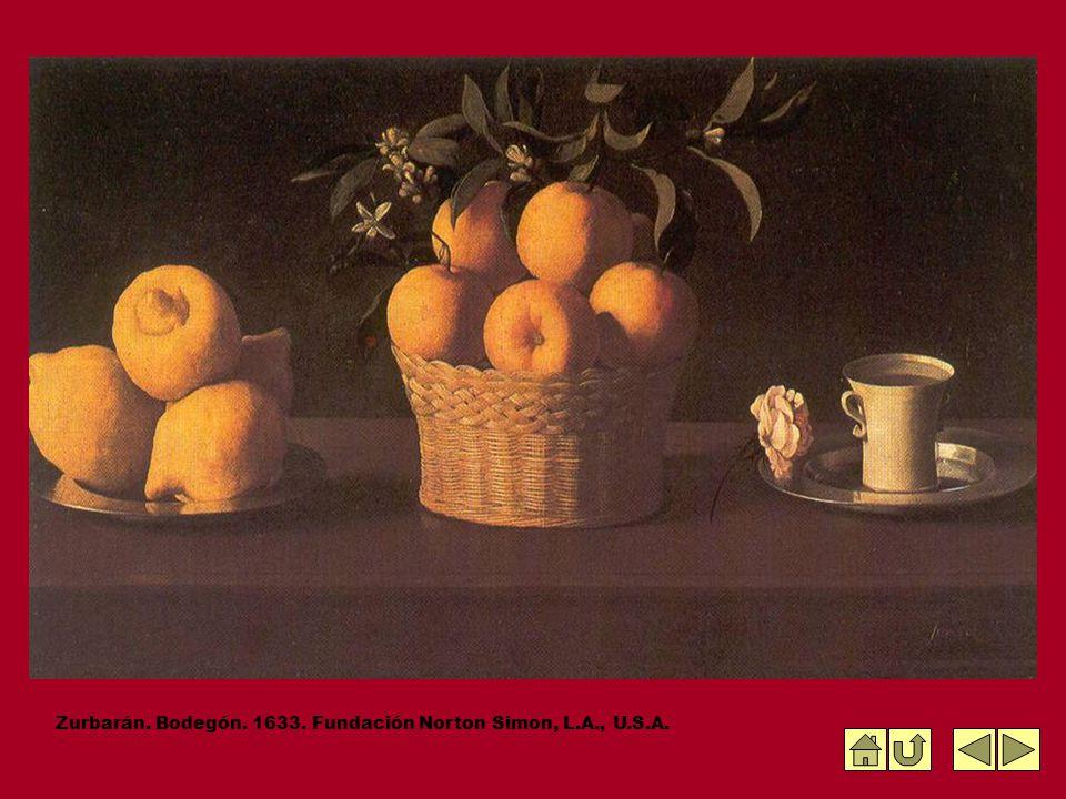 Zurbarán. Bodegón. 1633. Fundación Norton Simon, L.A., U.S.A.