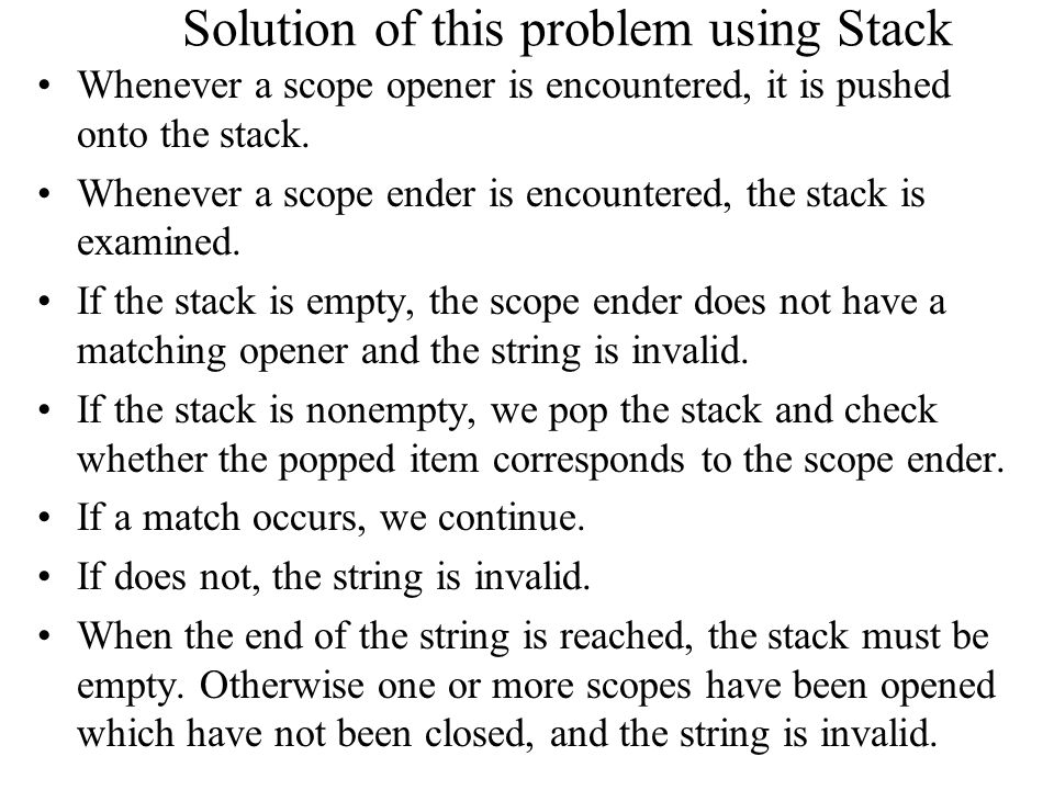 Solution of this problem using Stack