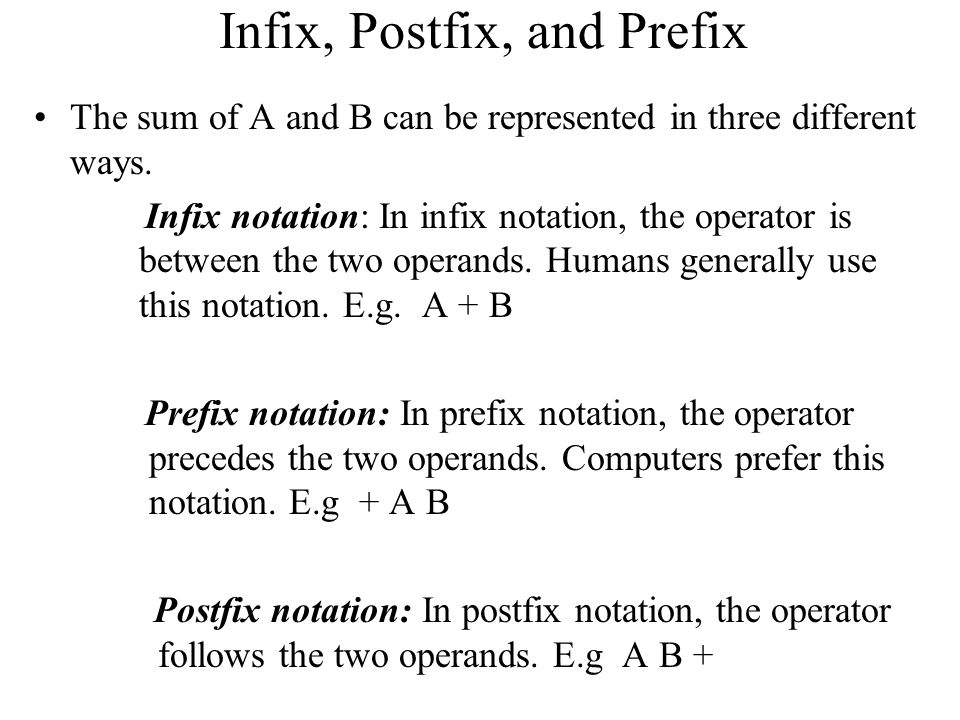 Infix, Postfix, and Prefix