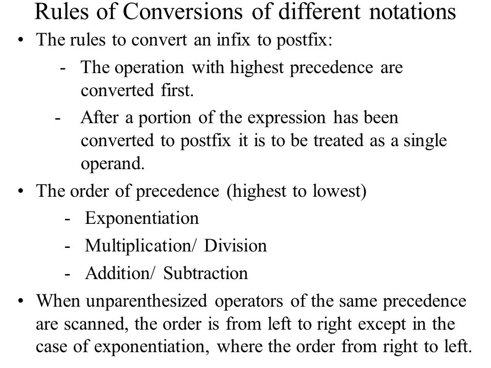 Rules of Conversions of different notations