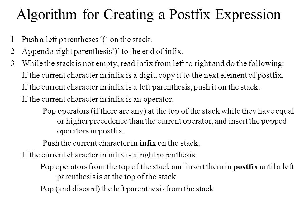 Algorithm for Creating a Postfix Expression