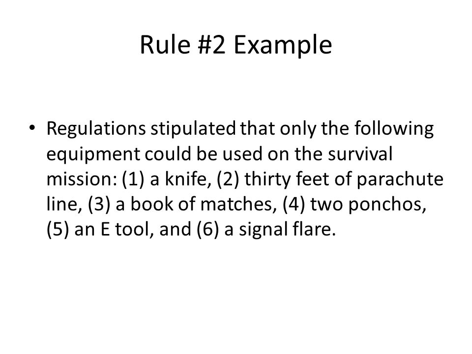 Rule #2 Example