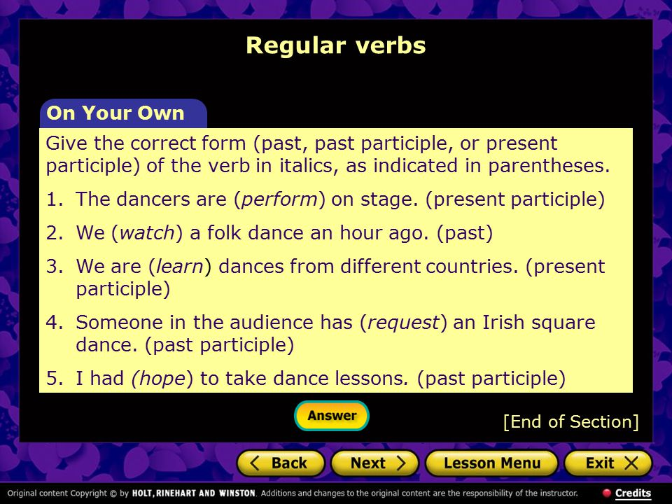 Regular verbs On Your Own