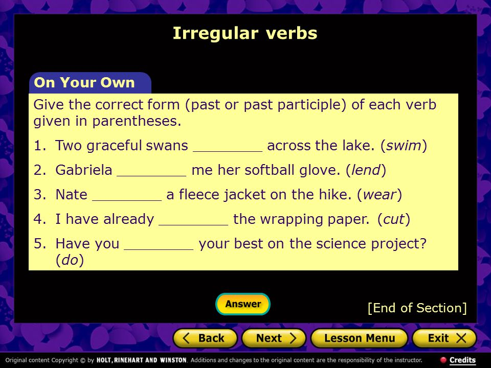 Irregular verbs On Your Own