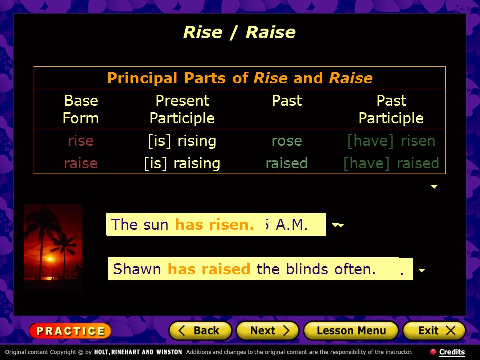 Principal Parts of Rise and Raise