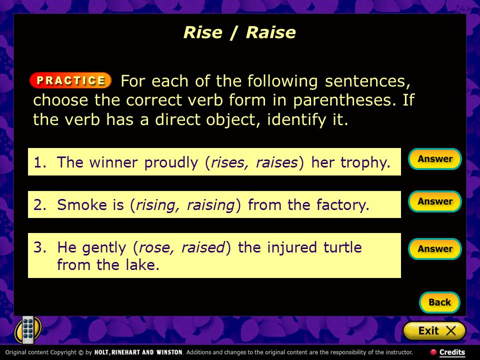Rise / Raise For each of the following sentences, choose the correct verb form in parentheses. If the verb has a direct object, identify it.