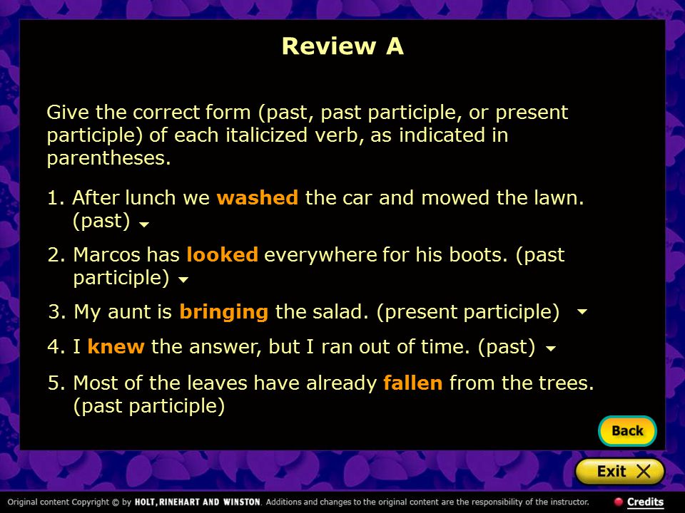 Review A Give the correct form (past, past participle, or present participle) of each italicized verb, as indicated in parentheses.