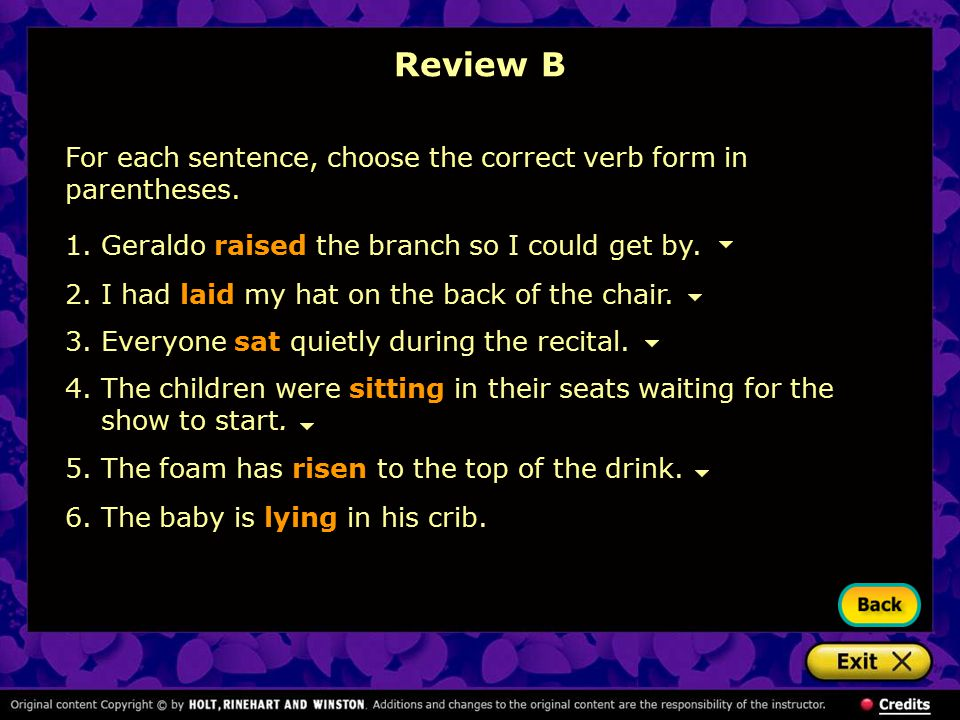 Review B For each sentence, choose the correct verb form in parentheses. Geraldo raised the branch so I could get by.