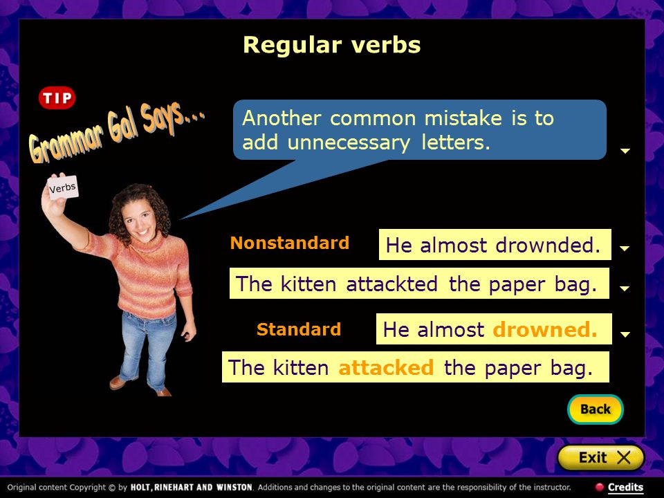 Grammar Gal Says... Regular verbs