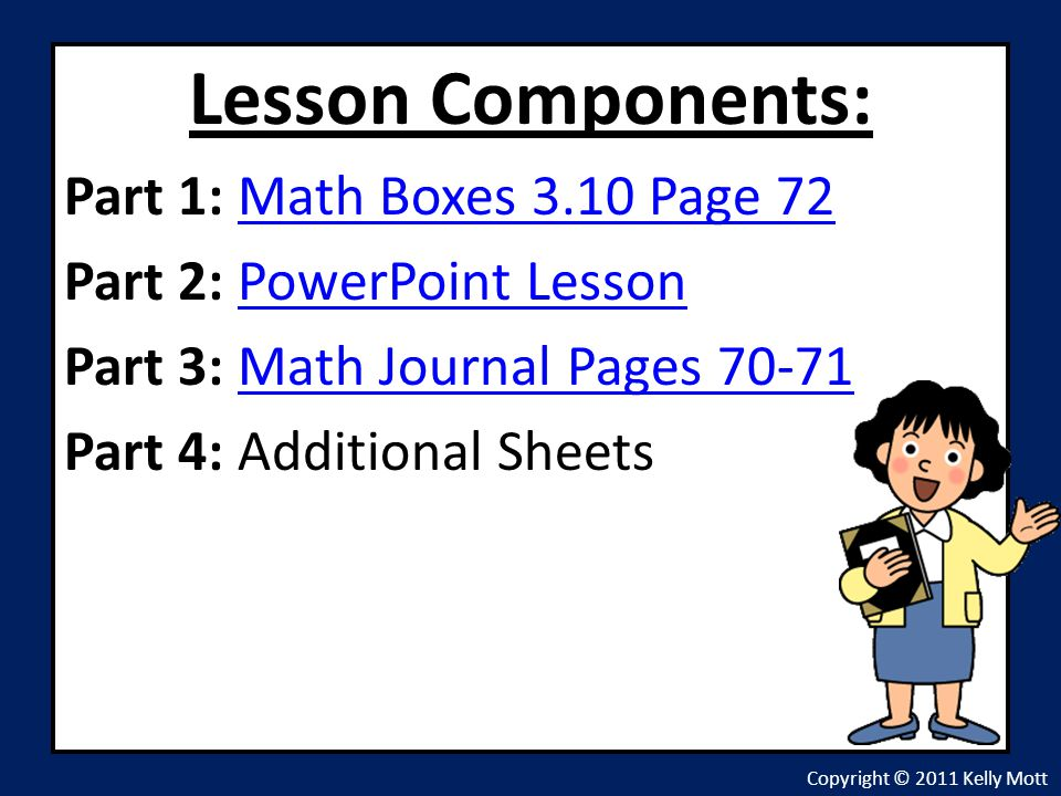 Lesson Components: Part 1: Math Boxes 3.10 Page 72
