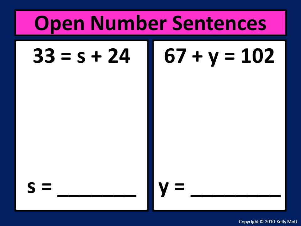 Open Number Sentences 33 = s + 24 s = _______ 67 + y = 102