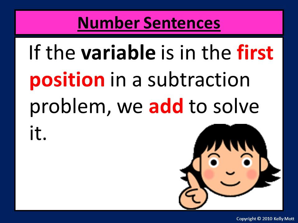 Number Sentences If the variable is in the first position in a subtraction problem, we add to solve it.