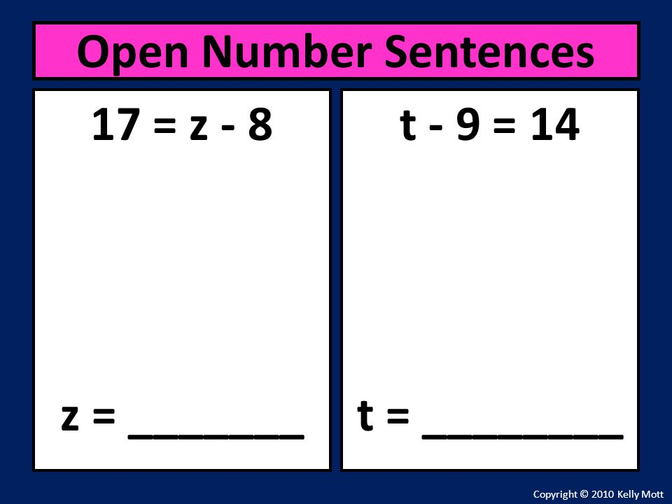 Open Number Sentences 17 = z - 8 z = _______ t - 9 = 14 t = ________